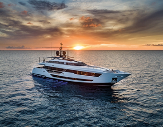 The new Custom Line 120 planing yacht is a masterpiece of nautical art with excellent standards in design, comfort, and performance